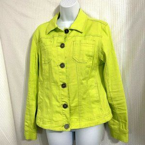 Women's Lime Green Jacket with Pockets Denim Look